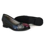 Sapato Anabela em Couro Preto DC0003
