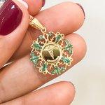 Pingente Formatura Medicina Ouro 18K com Esmeraldas
