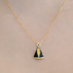 Pingente Medalha Nossa Senhora Aparecida Safira Azul em Ouro 18K