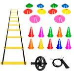 Kit Escada de Agilidade + 10 Chapéu Chinês + Roda Abdominal + 10 Cones com Furo + Corda