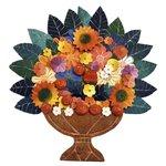 Painel Médio de Ânfora de Flores e Folhas