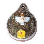 Placa com Escultura Divino Espírito Santo e Flor em Madeira