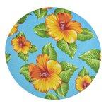 Sousplat de Chita Azul com Flores Amarelas
