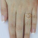 Anel Coração com Zircônia em Ouro 18k