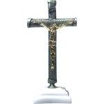 Crucifixo Metal 12cm com Base Resina