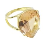 Anel Gota Semijoia Banho de Ouro 18k Cristal Champagne