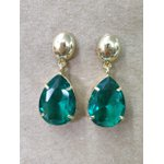 Brinco Gota Semijoia Banho de Ouro 18k Cristal Verde Esmeralda