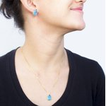 Brinco Gota Banho de Ouro 18k Cristal azul Safira