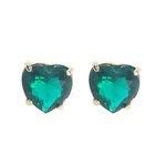 Brinco Coração Banho de Ouro 18k Cristal Verde Esmeralda