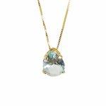 Pingente Gota Banho de Ouro 18k Cristal Azul Safira com Corrente Veneziana