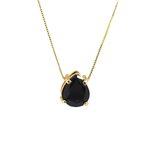 Pingente Gota Banho de Ouro 18k Cristal Negro com Corrente Veneziana
