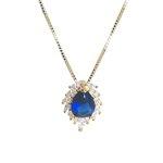 Pingente Pétalas Banho de Ouro 18k Cristal Azul com Corrente Veneziana