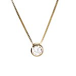 Pingente Ponto de luz Grande Banho de Ouro 18k Cristal com Corrente Veneziana