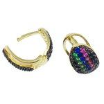 Brinco Mini Argola Rainbow Semijoia Banho de Ouro 18K Cravejado com Zircônias Coloridas Detalhe em Ródio Negro