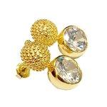 Brinco Redondo Microesferas Semijoia Banho de Ouro 18K Zircônias