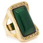Anel Retangular Semijoia Banho de Ouro 18K Pedra Natural Jade e Cravação de Zircônia