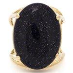 Anel Oval Semijoia Banho de Ouro 18K Pedra Natural Estrela