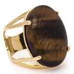 Anel Oval Semijoia Banho de Ouro 18K Pedra Natural Olho de Tigre