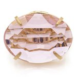 Anel Oval Cristallo Semijoia Banho de Ouro 18k Cristal Rosa