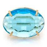 Anel Oval Cristallo Semijoia Banho de Ouro 18K Cristal Azul