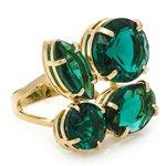 Anel 4 Pedras Semijoia Banho de Ouro 18K Cristal Verde Esmeralda