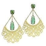 Brinco Longo Arabesco 2 Gotas Semijoia Banho de Ouro 18K Cristal Verde Esmeralda