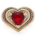 Anel Coração Semijoia Banho de Ouro 18k Cristal Vermelho Rubi com Cravação de Zircônias Detalhe em Ródio