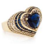 Anel Coração Semijoia Banho de Ouro 18k Cristal Azul e Cravação de Zircônias Detalhe em Ródio