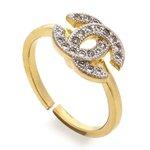 Anel Chanel Falange Semijoia Banho de Ouro 18k Cravação de Zircônia Detalhe em Ródio