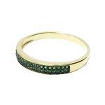 Anel Meia Aliança Semijoia Banho de Ouro 18k Cravação de Zircônia Verde Esmeralda Detalhe em Ródio Negro