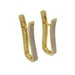 Brinco Argola Retângulo Semijoia Banho de Ouro 18k com Cravação de Zircônia e Detalhe em Ródio