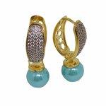 Brinco Argola Semijoia Banho de Ouro 18k com Cravação de Zircônias e Pérola Shell Azul com detalhe em Ródio