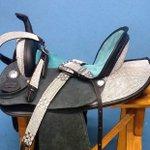 Sela em Neoprene Master Saddles Rancheira - Preta e Azul com Strass