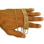 Colar longo de Ouro Branco com Bolinhas Diamantadas 80 cm