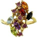 Anel de Ouro 18K com Pedras Brasileiras Lindo