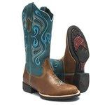 Bota Texana Feminina - Dallas Bambu / Celeste - Roper - Bico Redondo - Cano Longo - Solado VTS - Bulls Horse - 53000-A-BU