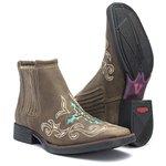 Botina Feminina - Dallas Brown / Turquesa - Roper - Bico Quadrado - Solado Freedom Flex - Vimar Boots - 12127-A-VR
