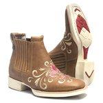 Botina Feminina - Fóssil Caramelo - Roper - Bico Quadrado - Solado VTS - Vimar Boots - 12128-A-VR