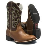Bota Texana Masculina - Dallas Bambu / Castanho - Roper - Bico Redondo - Cano Médio - Solado Nelore - Bulls Horse - 50012-A-BU