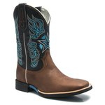 Bota Texana Masculina - Fóssil Pinhão / Marinho - Roper - Bico Quadrado - Cano Médio - Solado Jaguar - Bulls Horse - 50013-A-BU
