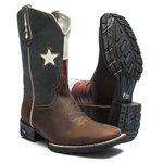 Bota Texana Masculina - Crazy Horse Café / Bandeira Texas - Roper - Bico Quadrado - Cano Médio - Solado VRX - PalFlex - 81144-A-PF