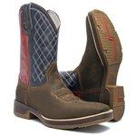 Bota Texana Masculina - Búfalo Café / Navy / Red - Roper - Bico Quadrado - Cano Médio - Solado Strong Shock - Vimar Boots - 81225-B-VR