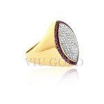Anel em ouro 18k amarelo com Diamantes e Rubi