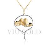Pingente de Chapéu em ouro 18K amarelo e branco com 4 Diamante Sintético