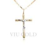 Pingente Cruz com símbolo de Cristo em ouro 18k amarelo e branco