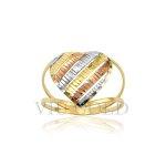 Anel de aro duplo com coração todo trabalhado em ouro 18k amarelo, branco, e rose