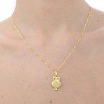 Pingente de coruja em ouro 18K amarelo com Safira Azul e Diamantes