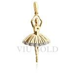 Pingente Bailarina em ouro 18k amarelo com Diamantes