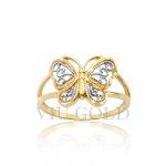 Anel aro duplo com borboleta em ouro 18k amarelo, e branco nos detalhes
