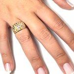 Anel em ouro 18k tricolor com detalhes fosco e aro duplo